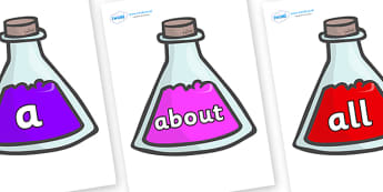 100 High Frequency Words on Potions - High frequency words, hfw, DfES Letters and Sounds, Letters and Sounds, display words