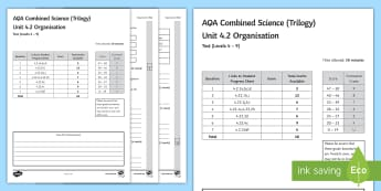 AQA (Trilogy) Unit 4.2 Organisation Test - KS4 Assessment, Test., blood, platelets, food test, digestion, enzymes, Statins