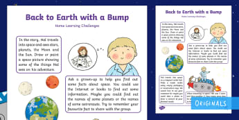 Back to Earth with a Bump Home Learning Challenges Nursery FS1 - EYFS, Early Years Planning, Adult Led, topic plan, Twinkl Fiction, Twinkl Originals, Story, Back to