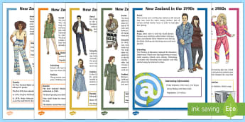 NZ Through The Decades  Resource Pack - New Zealand, Decades, Reading Comprehension, Time, Changes