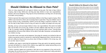 Should Children Be Allowed to Own Pets? Discussion Writing Sample - Literacy, Should Children Be Allowed to Own Pets? Discussion  Writing Sample , writing sample, writi