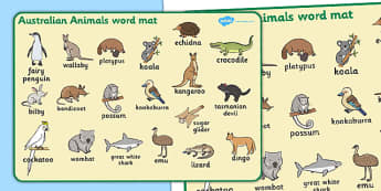 Australian Animals Word Mat - Australian animals, word mat, writing aid, kangaroo, wallaby, kookaburra, wombat, crocodile, koala, possum