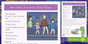 New Year's Eve Glitter Slime Recipe -  new year, new year 2018, sensory, creative, manipulative,