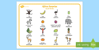 Images Word Mat to Support Teaching on Handa's Surprise English/Arabic - words, literacy, aid, visual, handas surprise wordmat, handas surpirse, handa's surprise, lieracy,