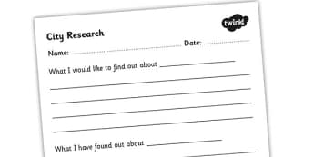 City Research Worksheet - city research, research template, research worksheets, what I would like to find out, what I have found out, ks2 worksheet, ks2