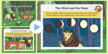 The Wind and the Moon Story PowerPoint - Buddhism, Buddhist story, friendship story, lion, tiger, monk, wise