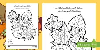 Herbstliche Addition und Subtraktion Malen nach Zahlen - Addieren, Subtrahieren, plus, minus, Herbstlaub, Herbstblatt, Herbstzeit, rechnen, malen nach zahlen