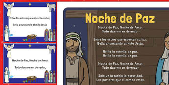Noche de Paz Christmas Carol Pack Spanish - spanish, silent night, christmas, carol, lyrics, pack