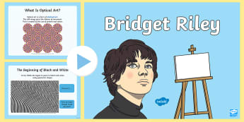 KS1 Bridget Riley Information PowerPoint - Artist, English, Optical Art, Illusion, Stripe