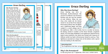 Grace Darling  Differentiated Fact File - heroine, rescue, lighthouse, survivor, shipwreck