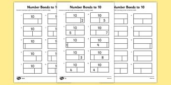 Number Bonds to 10 Activity Sheets - bar model, bar modelling, number bonds to 10, worksheet
