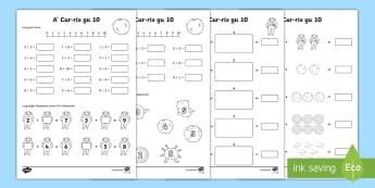 Cur-ris gu 10 Duilleagan-obrach - Cfe, First level, Maths, Addition, gaelic, cur-ris gu 10, ,Scottish