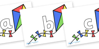 Phoneme Set on Kites - Phoneme set, phonemes, phoneme, Letters and Sounds, DfES, display, Phase 1, Phase 2, Phase 3, Phase 5, Foundation, Literacy