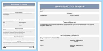 Secondary NQT CV Template - Secondary, NQT, CV, Template, Job, Interview
