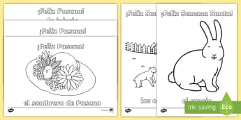 Happy Easter Colouring Pages - Spring, KS2, Spanish, MFL, easter, colouring, pages