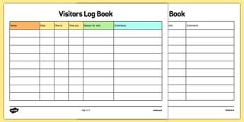 Childminder Visitors Log Book - Childminding, Childminder, visitors log, log book, book