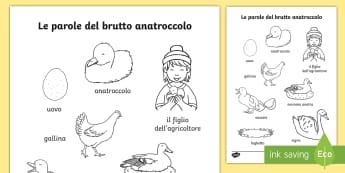 Le parole del brutto anatroccolo Fogli da colorare - leggere, colora, fiaba, favola, italian, italiano, materiale, scolastico