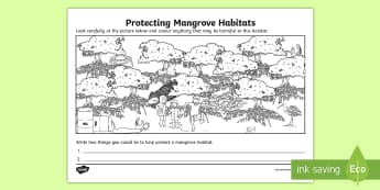 Protecting Mangrove Habitats Activity Sheet - ACSHE022, swamp, science human endeavour, Sustainable, environment,Australia, Worksheet