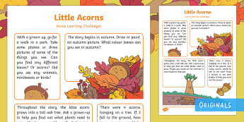 Little Acorns Home Learning Challenges Nursery FS1 - EYFS, Little Acorns, Twinkl Originals, Twinkl Fiction, Autumn, Seasons, Plants and Growth, Growing,