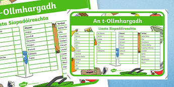 An t-Ollmhargadh The Supermarket Role Play Shopping Checklist Irish Activity Sheet-Irish, worksheet Gaeilge