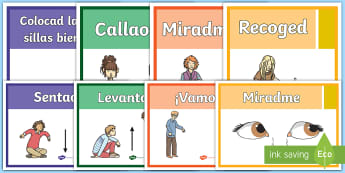 Classroom Instructions Display Posters - Spanish - classroom instructions, target language, display, posters, spanish, espagnol, spain