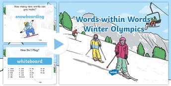 KS1 Winter Olympics Words Within Words PowerPoint - Korea, Spelling, Patterns, Sports, Spot