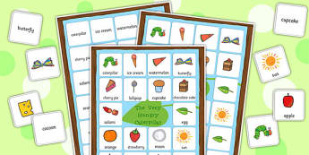 Word Mat and Matching Cards to Support Teaching on The Very Hungry Caterpillar - words