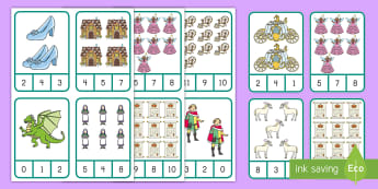 Fairy Tale Number Recognition Clip Card Activity - Center Activity, Number Skills, Fine Motor Skills, Math Activity, Clothespins