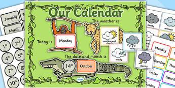 Jungle Themed Display Calendar - jungle, jungle themed, display calender, display, calender, jungle calender, jungle display, jungle display calender