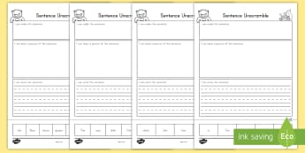 Sentence Unscramble Activity Sheets - sentence, unscramble, literacy, activity sheets, worksheet
