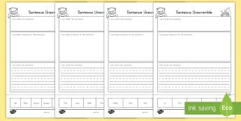 Sentence Unscramble Worksheet / Activity Sheets - sentence, unscramble, literacy, worksheet / activity sheets, worksheet