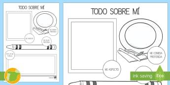 Todo sobre mí Ficha de actividad-Spanish - Pack de actividades para la vuelta al cole, primer día, escuela, la vuelta, información, personal, - Pack de actividades para la vuelta al cole, primer día, escuela, la vuelta, información, personal,