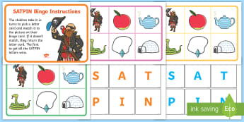 Picture Bingo Match with Beginning Sounds SATPIN - bingo, game, activity, fun, picture matching, picture matching game, word game, word fun, picture game, picture and word game, learning, class activity, play, playing