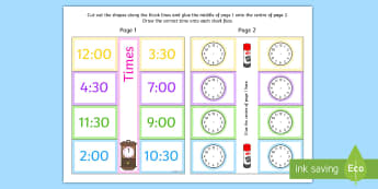 Time Writing Clocks Foldable Visual Aid O'clock and Half Past - time, writing, clocks, foldable, visual aid, o'clock, half past
