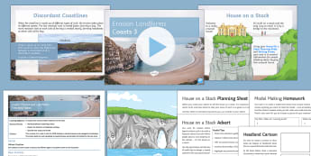 Coasts 3: Erosion and Landforms Lesson Pack - Physical, Landscapes, UK, AQA, GCSE, arch, stack, stump, cave, crack, headland, bay