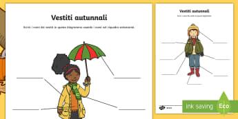 Vestiti autunnali Attività - vestiti, indumenti, autunno, autunnale, vocaboli, materiale, scolastico, italiano, italian