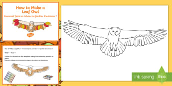 Leaf Owl Craft Instructions Fact Cards English/French  - Autumn, seasons, September, October, topics, ks1, harvest, hibernation, reception, EYFS, owl, animal