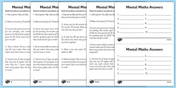 Mental Maths Adding Worksheets - maths worksheet, mental maths worksheet, maths problems, sums to do in your head, ks2 maths problems, ks2 maths questions