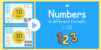 Numbers 1-30 in Different Formats Presentation - numbers, 1-30, different formats, presentation