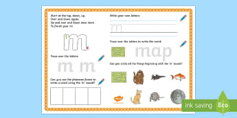 UAE EY 'm' Sound Activity Mat - Letters and Sounds, grapheme, phoneme, satpin, letter formation, handwriting, EYFS, General Resource