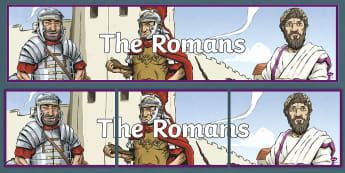 History Hackers: Roman Rescue 'The Romans' Display Banner - topic, fiction, Roman Empire, originals, organise, poster, heading, lettering.