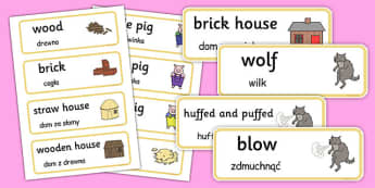 The 3 Little Pigs Word Cards Polish Translation - polish, 3 little pigs, word cards, word, cards