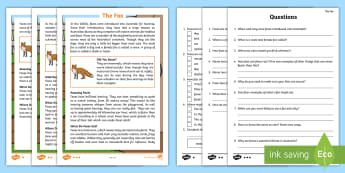Fox Differentiated Reading Comprehension Activity - find, locate, read, comprehend, fact, title, fact file, information, question, comprehesion, compreh