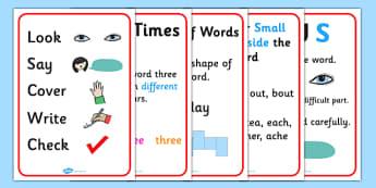 Spelling Strategies Posters - spelling, spelling strategies, learning to spelling, spelling aids, spelling strategy posters, ks2 spelling, spelling help