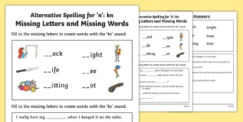 Kn Grapheme Missing Words Phase 5 Alternative Spelling Worksheet / Activity Sheet, worksheet