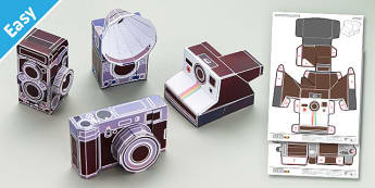 Enkl Vintage Camera Paper Model Printables - Enkl, arts, crafts, activity, adult, home, decor, designer, designer, decoration, interior, project, printable, cute, simple, paper, models, 3D, shape, colour, geek, clean, vintage, cameras