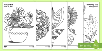 Plants and Growth Themed Mindfulness Colouring Pages English/Italian  - plants and growth, mindfulness, colouring sheets, colour, EAL