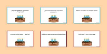 General Conversation Customs & Festivals Question Pair Cards Spanish