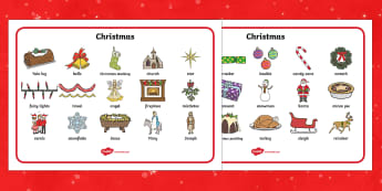 Christmas Word Bank - Christmas, xmas, word mat, writing aid, tree, advent, nativity, santa, father christmas, Jesus, tree, stocking, present, activity, cracker, angel, snowman, advent , bauble