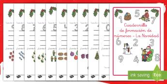 Cuadernillo de formación de números de 0-9: La Navidad - cuenta, escribir números, formar números, contar, uno a nueve